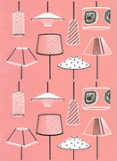 Modern - Pink Lampshades Greeting card