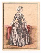 Moden-Almanach. Die Zeit der Krinoline 1850. Serie 63 249 1. Bild. Dame in Halbtrauer. Cigarette cards. Sammelbilder.