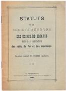 Statuts de la Société anonyme des usines de Briansk pour la Fabrication des rails, du fer et des machines. Capital social 24.175.000 roubles.