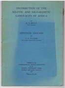 Distribution of the Nilotic and Nilo-Hamitic Languages of Africa.  Linguistic Analyses.