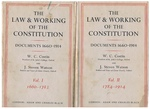The Law and Working of the Constitution Documents 1660 - 1914. In two volumes.  Volume I: 1660 - 1783, Volume II: 1784 - 1914.