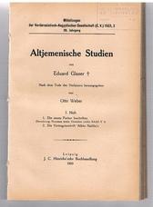 GLASER, Eduard (Otto Weber.  Nach dem Tode des Verfassers )