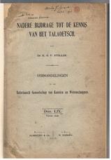 Nadere Bijdrage tot de Kennis van het Talaoetsch (Talaud) Bataviaasch