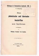 Neue phönicische und iberische Inschriften aus Sardinien. Mitteilungen der Vorderasiatischen Gesellschaft,.