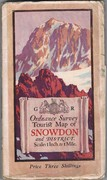 Snowdon and District. Ordnance Survey Tourist Map. Scale: 1 Inch to 1 Mile. Price Three Shillings.