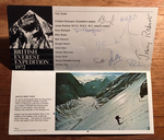 British Everest Expedition 1972 Official Souvenir Card.  Signed by 'The Team': Chris Bonington, James Roberts, Dave Bathgate, Mick Burke, Nick Estcourt, Dougal Haston, Hamish MacInnes, Doug Scott, Barney Rosedale and Graham Tiso. [Card with 10 (of 11) signatures in envelope].